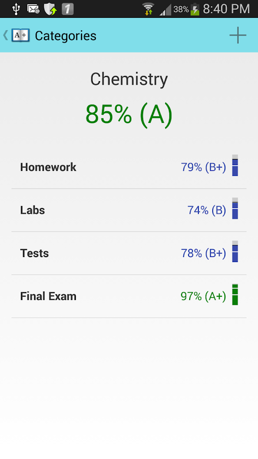 Gradebook for Students- screenshot