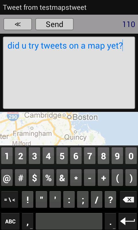 Tweets On A Map (Twitter)- screenshot