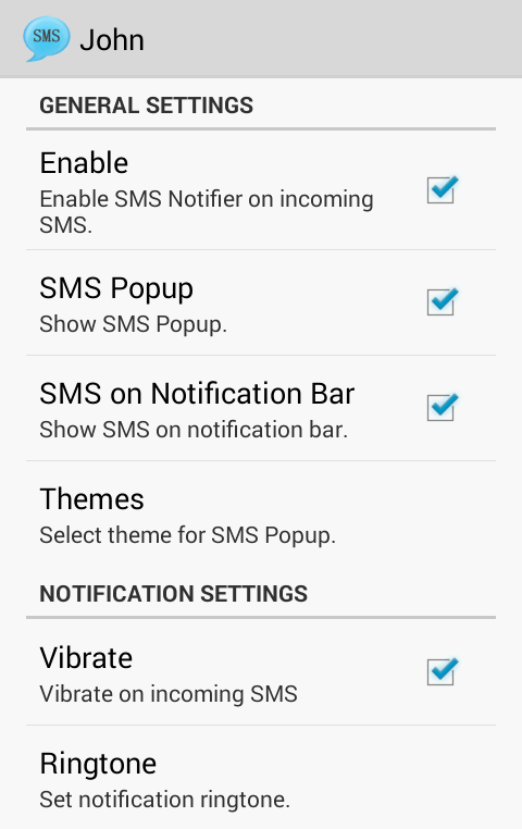 SMS Notifier (SMS Popup)- screenshot