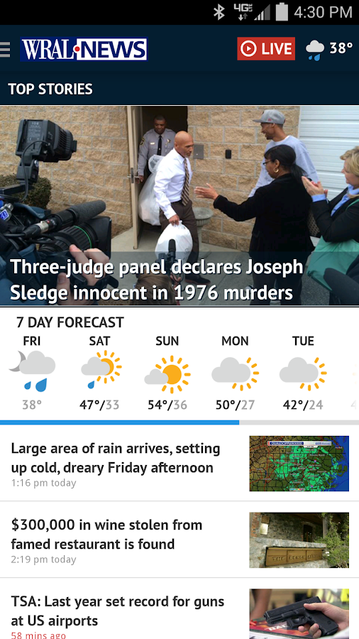 WRAL News App- screenshot
