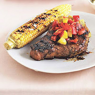 Cubano Pork Chops with Pickle-and-Pepper Relish and Char-Grilled Corn.