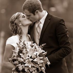 Chocolate Kiss by Craig Lybbert - Wedding Bride & Groom ( love, kiss, chocolate, sepia, kissing, wedding, bride, groom )
