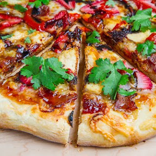 Balsamic Strawberry and Chicken Pizza with Sweet Onions and Smoked Bacon.