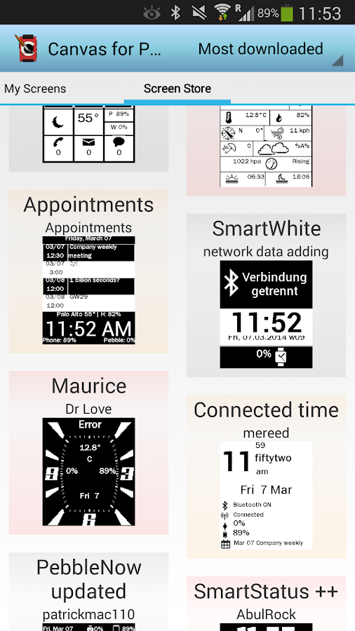Canvas for Pebble - screenshot