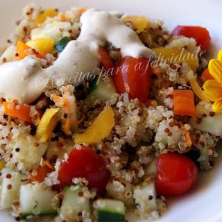 Cold Quinoa Salad with Herbed Yogurt Sauce.
