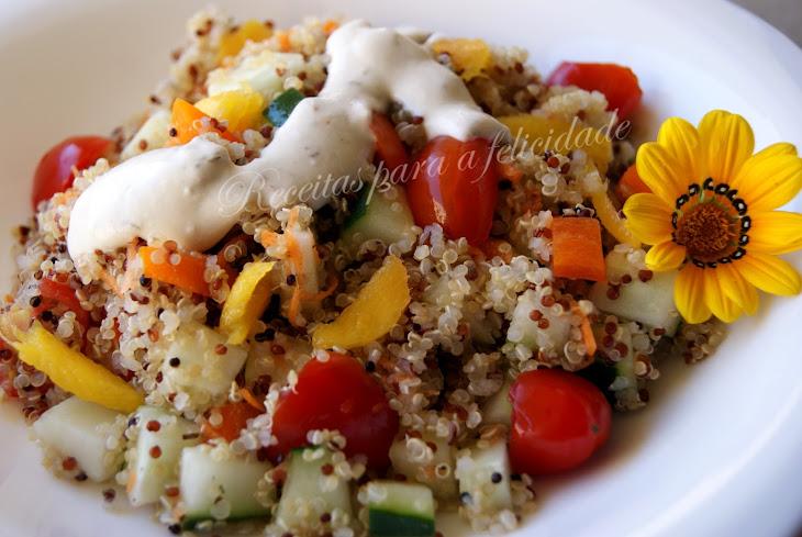 Cold Quinoa Salad with Herbed Yogurt Sauce Recipe
