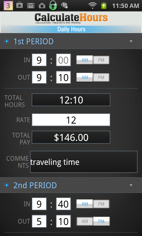 Calculate Work Hours-Timesheet- screenshot