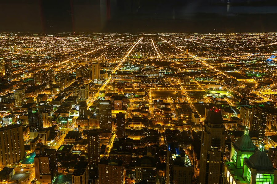 NIGHT FLIGHT OVER CHICAGO by Michael Rey - City,  Street & Park  Vistas ( illinois, offices, skyscrapers, aerial photography, architecture, chicago, downtown,  )