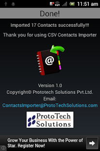 CSV Contacts Importer- screenshot thumbnail