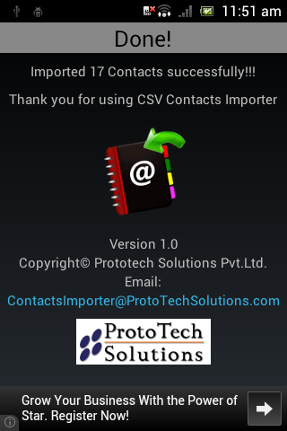 CSV Contacts Importer- screenshot