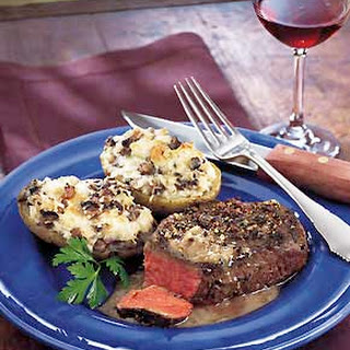Peppercorn Steaks with Bourbon Sauce.