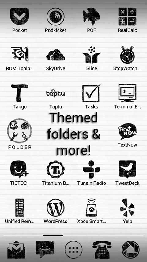 Paper Grunge Apex GO ADW Theme - screenshot