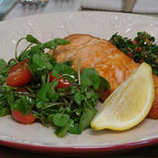 Crisp Salmon with Green Herb and Caper Sauce
