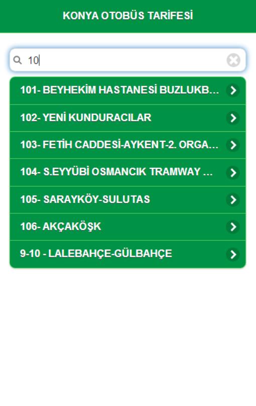 Konya Otobüs Tarifesi - screenshot