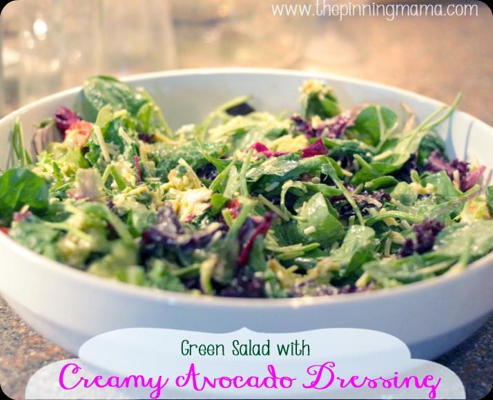 Green Salad with Creamy Avocado Dressing