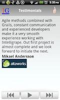 Screenshot of Intelligrape's Android App
