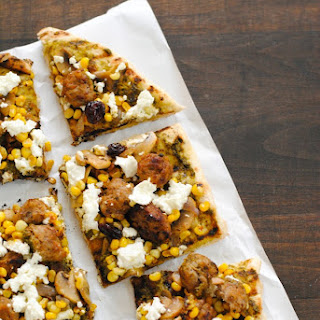 Sausage, Corn & Cherry Pizza with Goat Cheese