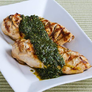 Grilled Lemon-Cumin Chicken with Charmoula Sauce.