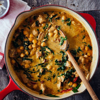 Green Chickpea & Chicken Curry with Swiss Chard.