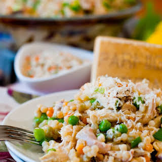 Israeli Couscous with Chicken and Peas.