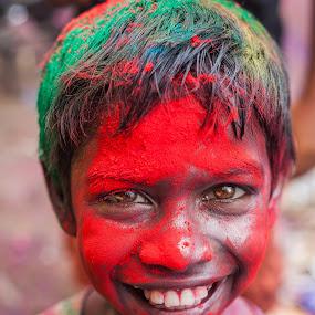 JOY OF COLORS  by Shaik Mohaideen - Babies & Children Child Portraits ( india, holi, chennai, tamilnadu )