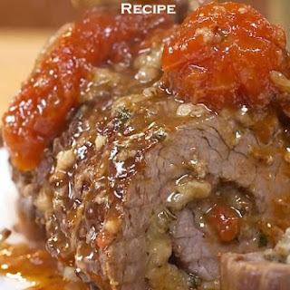 Braised Flank Steak Braciola Stuufed with Basil and Mozzarella.