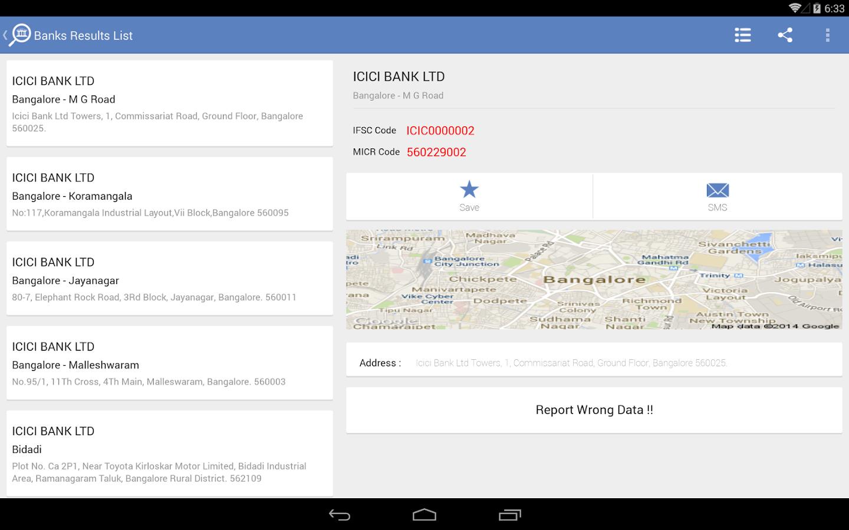 Bank IFSC MICR Code Finder - screenshot