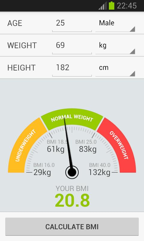 BMI Weight Calculator- screenshot