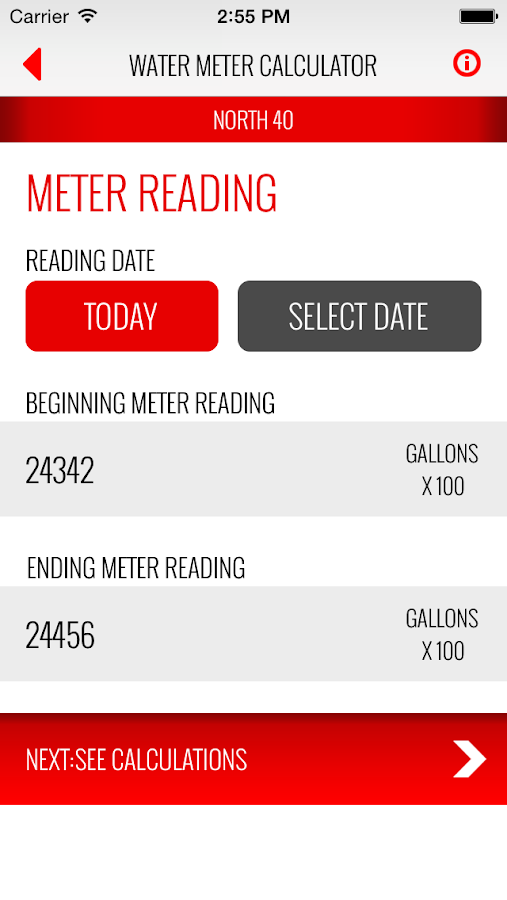 Water Meter Calculator- screenshot