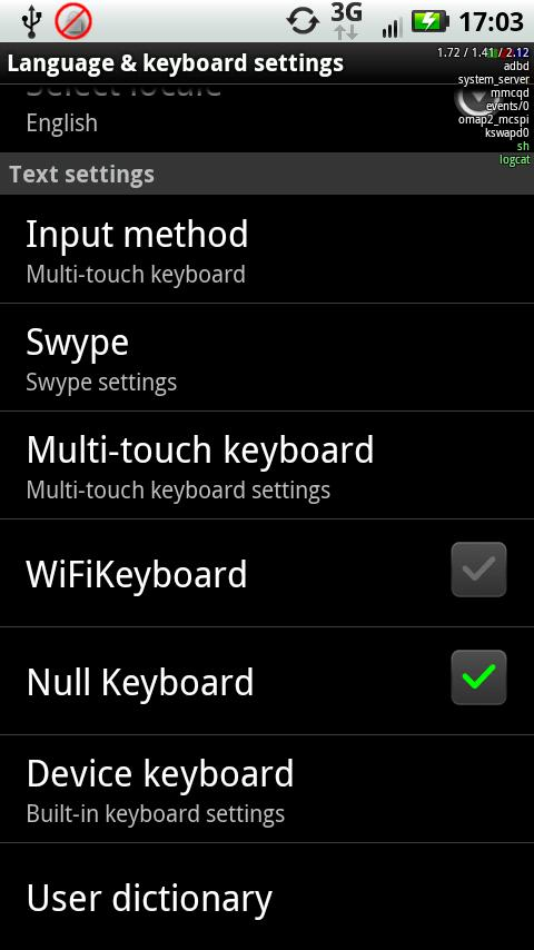 Null Keyboard - screenshot