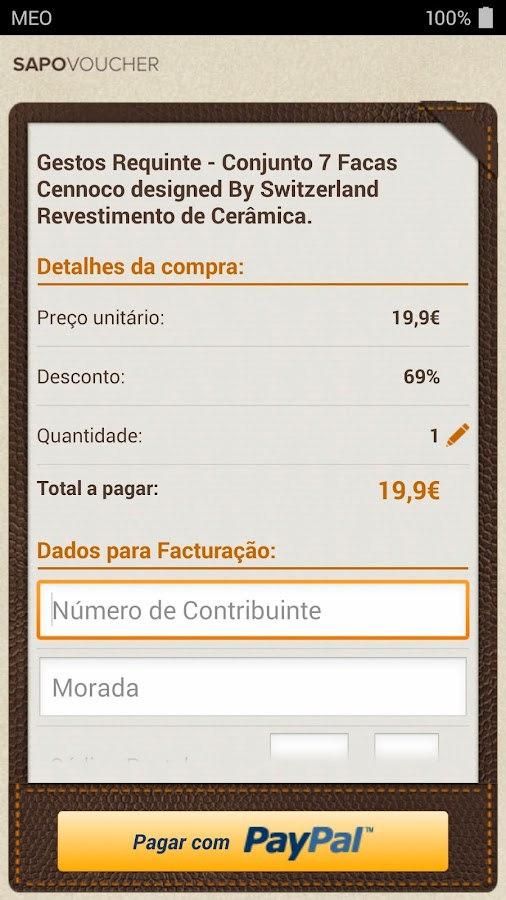 SAPO Voucher - screenshot