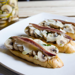 Marinated Mushroom Crudites with Anchovies and Aged Cheese