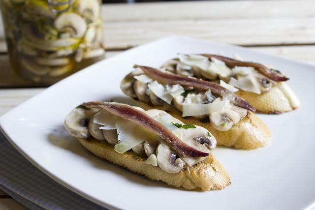 Marinated Mushroom Crudites with Anchovies and Aged Cheese Recipe