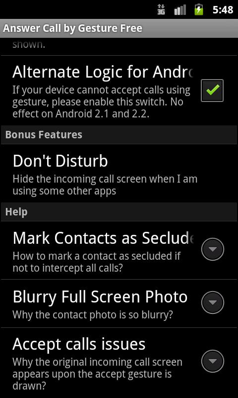 Answer Calls by Gestures (ACG) - screenshot