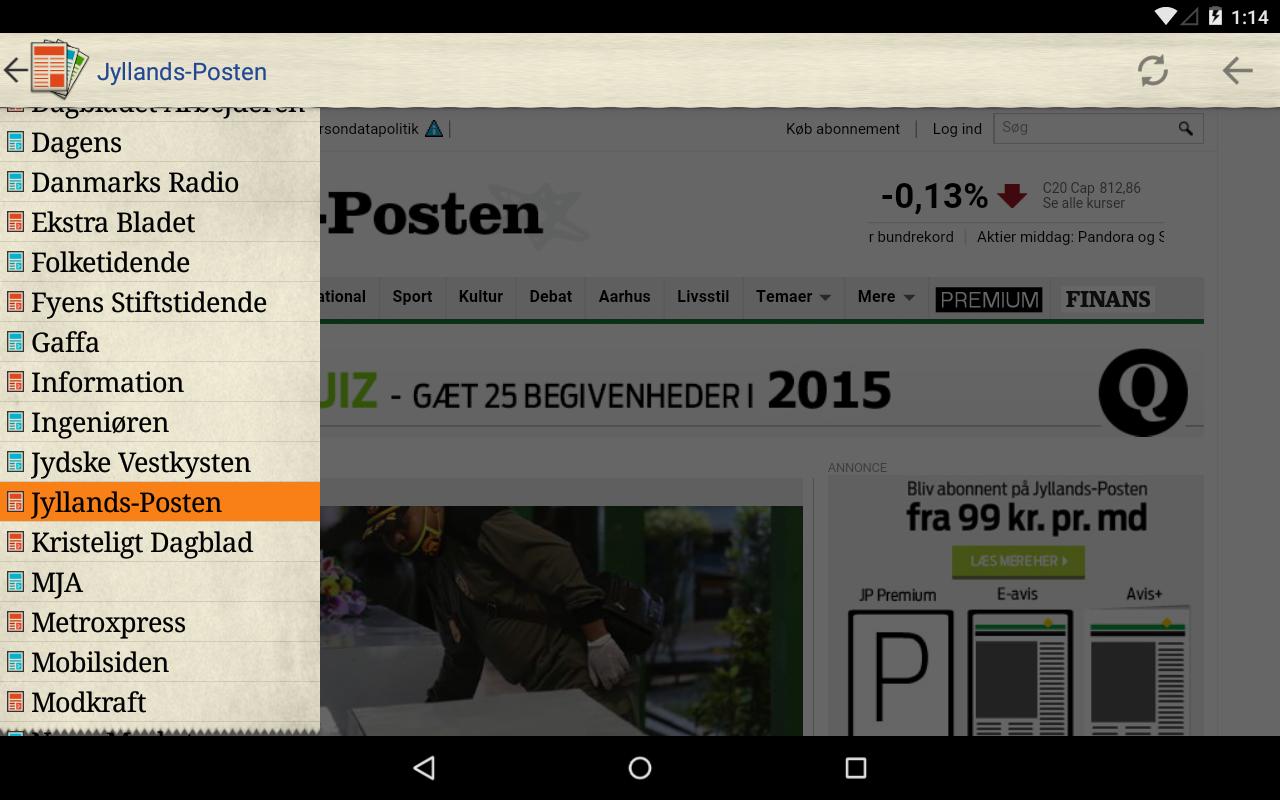 Danske Aviser- screenshot