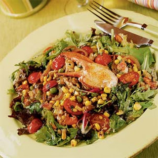 Warm Lobster Salad with Pan-roasted Corn, Peas, Basil, and Shallot Vinaigrette