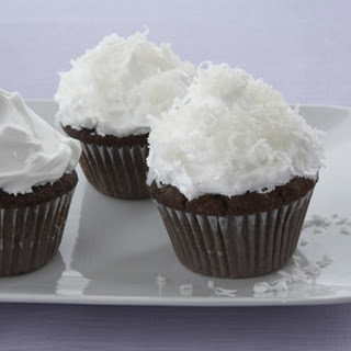 Chocolate-Almond Cupcakes with Fluffy Coconut Frosting
