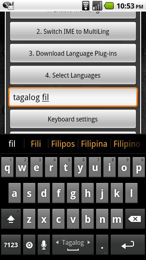 Tagalog Keyboard Plugin- screenshot