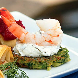 Shrimp with Zucchini Fritters and Grape-Leaf Spread