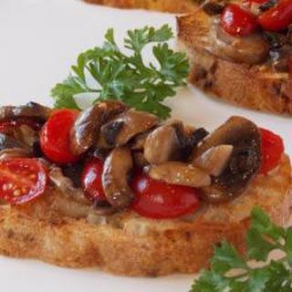 Mushroom And Tomato Bruschetta.
