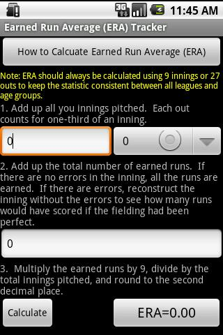 My Baseball Stats Calculator- screenshot