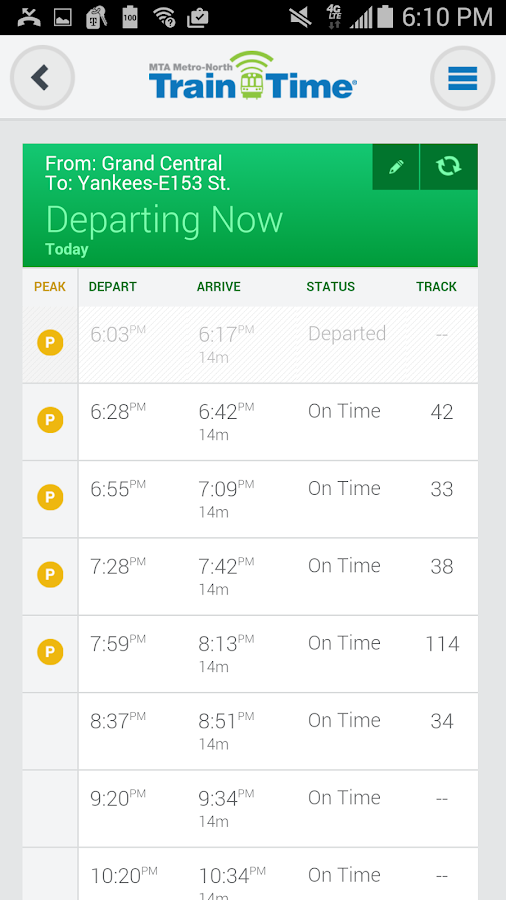 Metro-North Train Time- screenshot