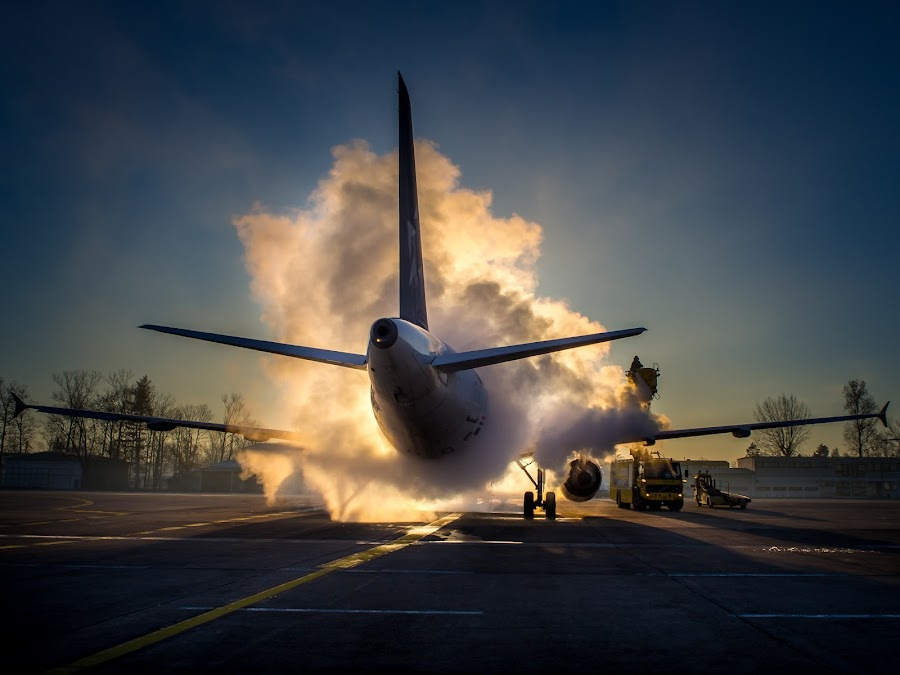 Morning Shower by Alan Grubelić - Transportation Airplanes ( airport, de-icing, croatia, croatia airlines, planes )