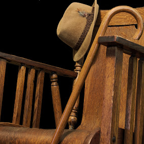 Take a seat... by Michael Wolfe - Artistic Objects Furniture ( chair, wooden chair, cane, feathers, hat,  )