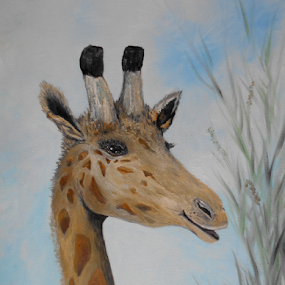 Silly Smiling Giraffe by Rhonda Lee - Painting All Painting ( face, unique, zoo, giraffe, art, smile, cute, painting, exotic, animal )