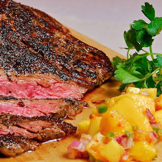 Smoked-Tea Rubbed Steak with Mango-Ginger Salsa.