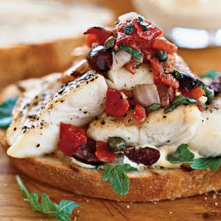 Halibut Sandwiches with Grilled Puttanesca Salsa.