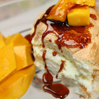 Mango Caramel Angel Food Cake.