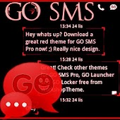 GO SMS Theme Red Neon