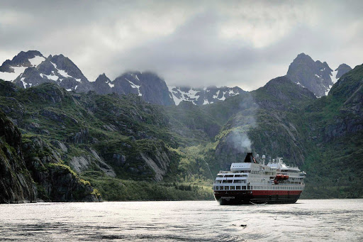 Hurtigruten-Finnmarken-in-Norway-2 - Soak in the spectacular scenery as you cruise through the Raftsundet strait aboard the Hurtigruten expedition cruise ship ms Finnmarken.